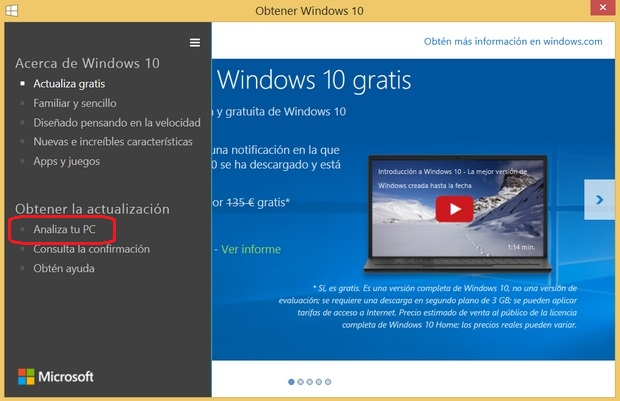 Cómo analizar PC antes de instalar Windows 10