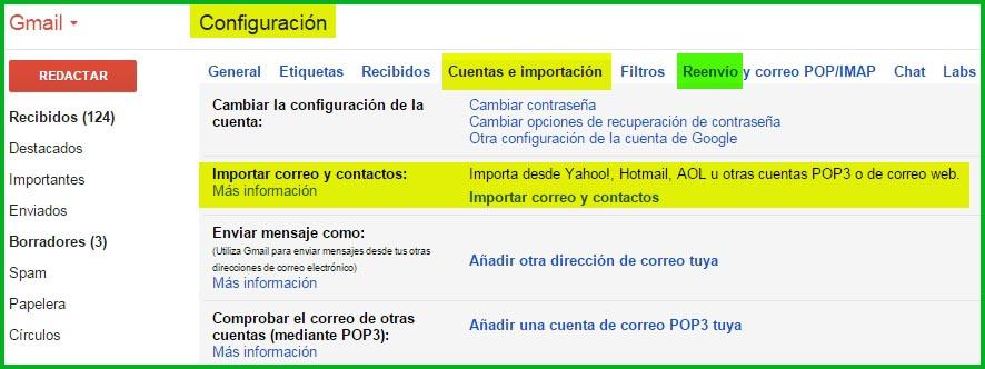 Configuración de Gmail para importación de datos desde otras cuentas y reenvío