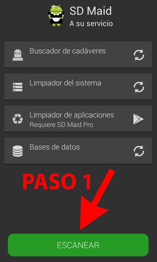 SD_Maid_mejor_aplicacion_android_para_limpiar_memoria_espacio_de_almacenamiento_Paso_1_Escanear
