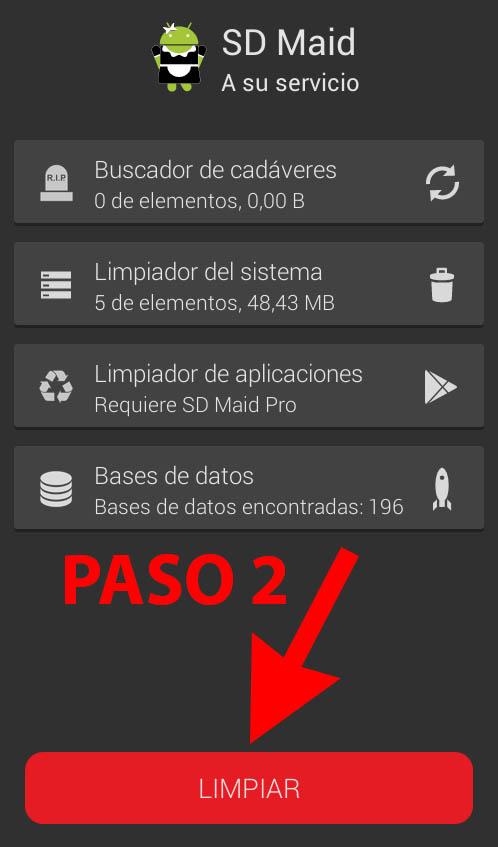 SD_Maid_mejor_aplicacion_android_para_limpiar_memoria_espacio_de_almacenamiento_Paso_2_Limpiar