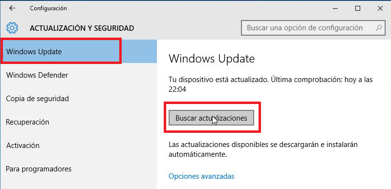buscar actualzaciones de Windows 10