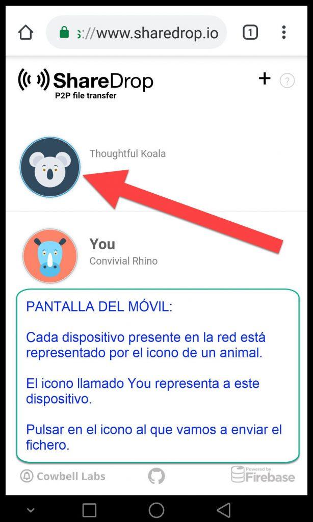 sharedrop.io iconos de dispositivos presentes en la misma red